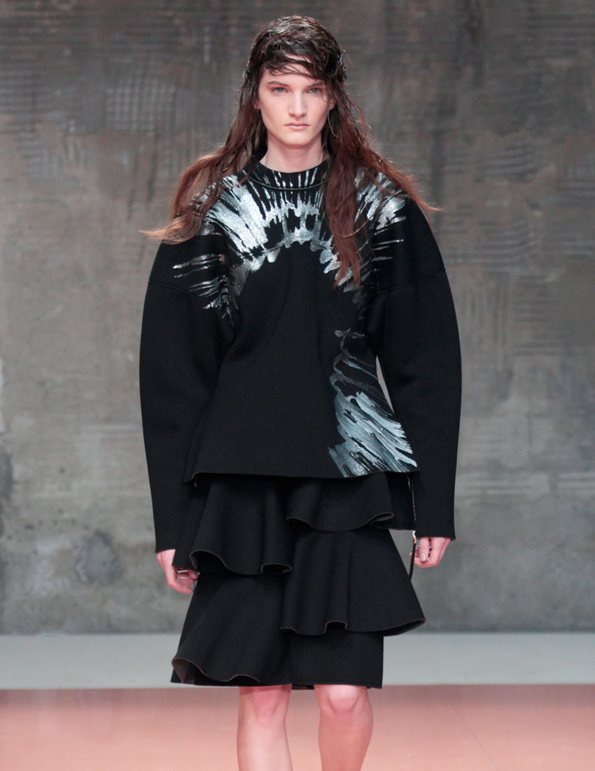 iconic marni fashion runway look featuring black ruffled skirt by consuelo castinglioni