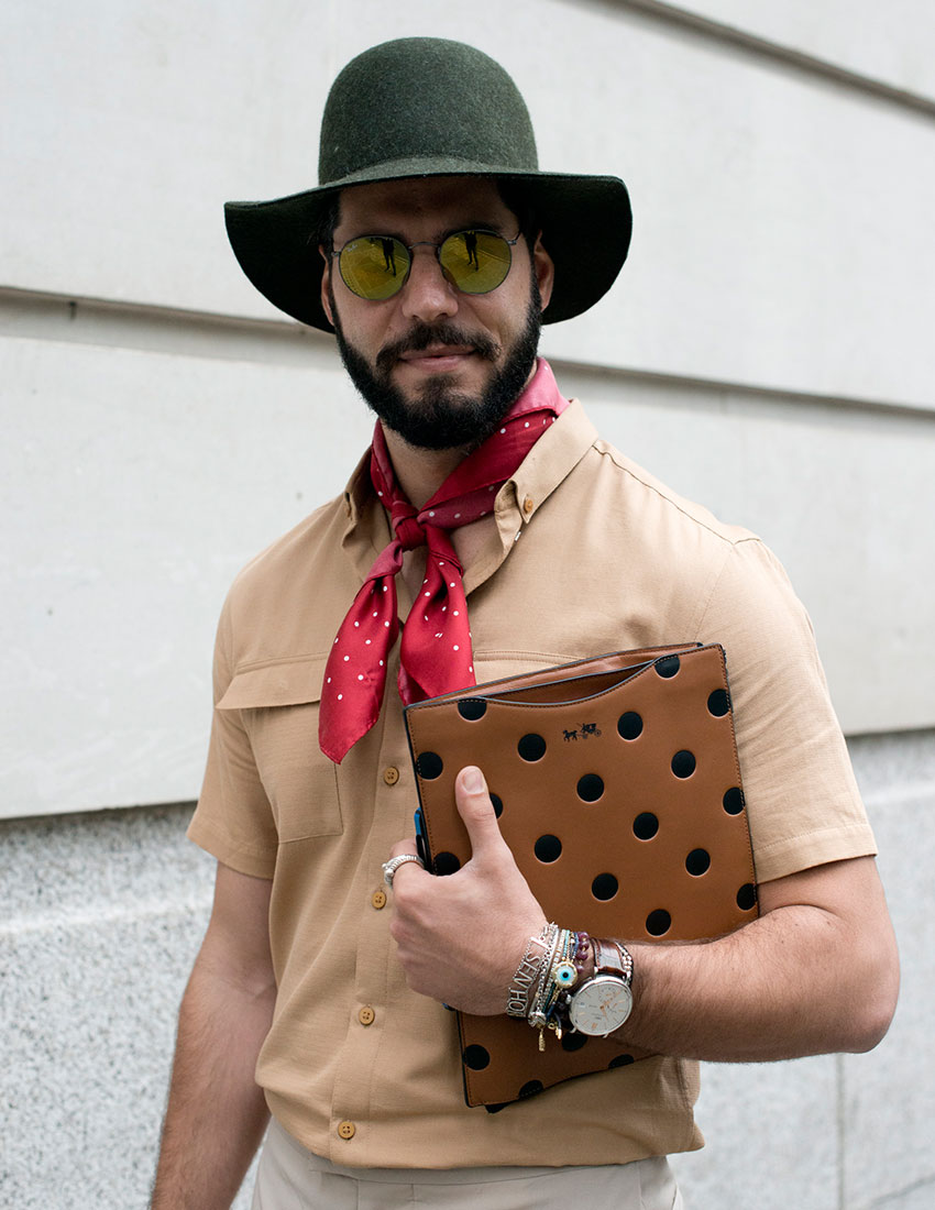 daring men's fashion trends featuring polka dot silk scarf