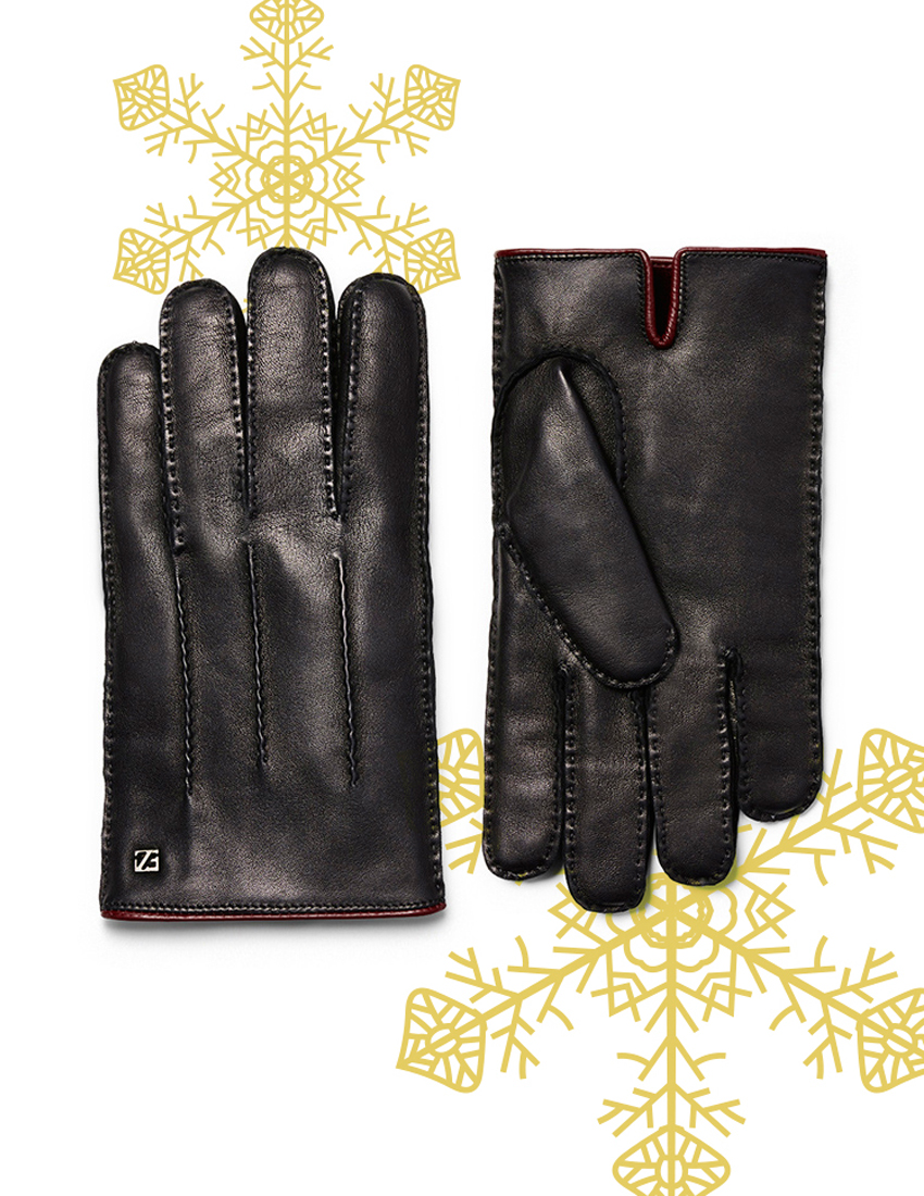 ermenegildo zegna black lamb leather gloves