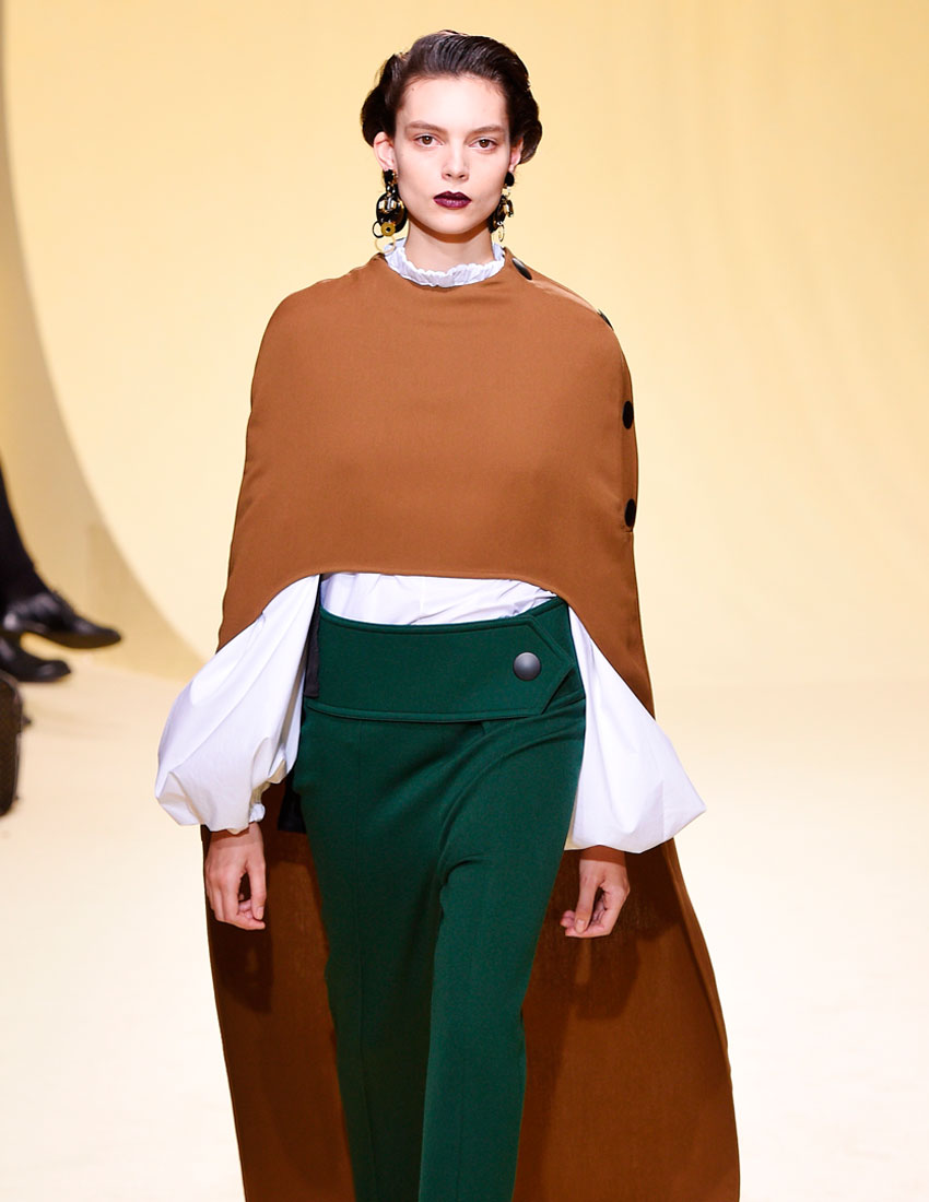 iconic marni fashion runway look featuring brown cape