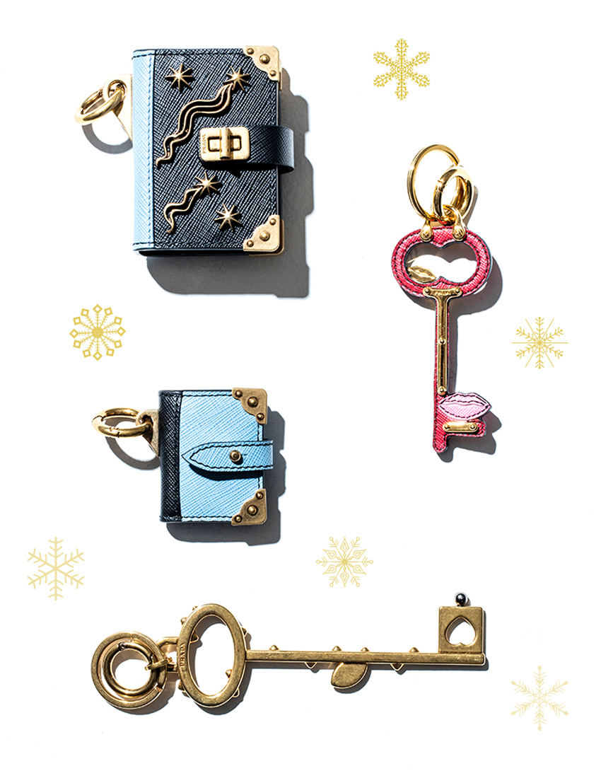 prada key charms and miniature booklets bag accessories