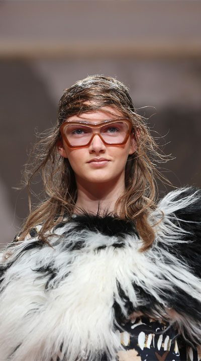 iconic marni fashion runway look featuring coloured fur coat and sunglasses